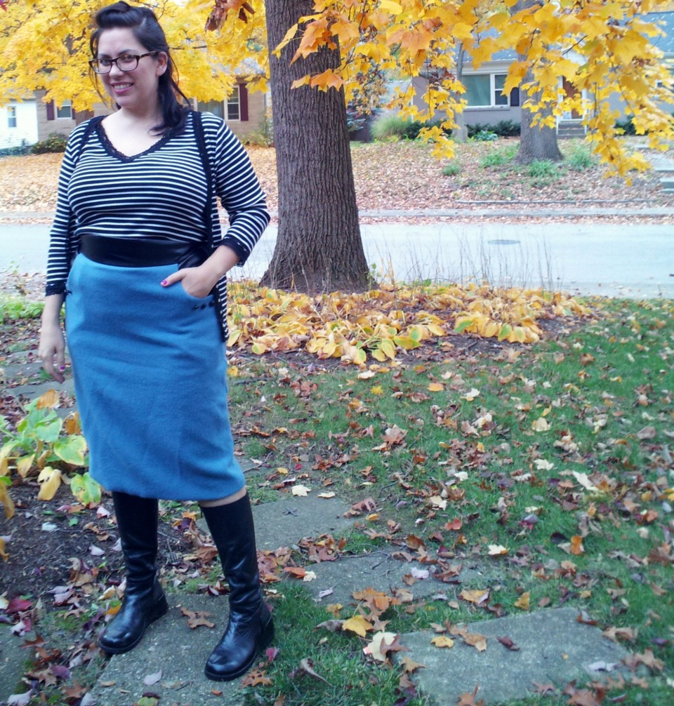 blue wool skirt tee tucked