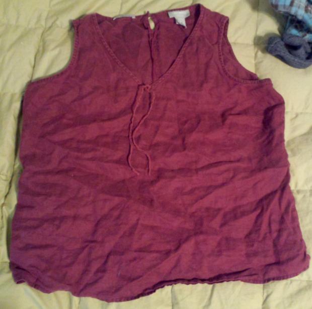burgundy linen top