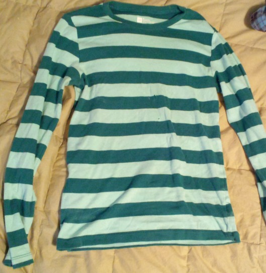 teal striped long sleeve tee