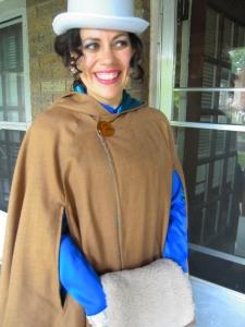Victorian Costume Queen cloak closeup