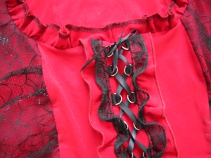 Red gunmetal ruffle close