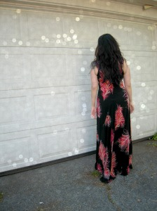 Feather maxi dress back
