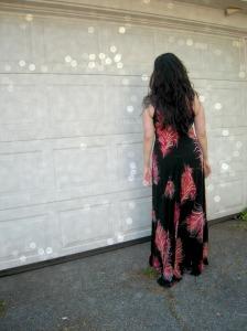 Feather maxi dress back