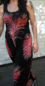 Feather Maxi dress close up