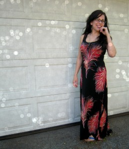 Feather Maxi dress front