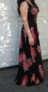 Feather Maxi dress side close